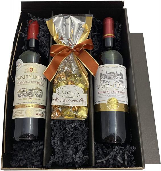 Geschenkset Bordeaux | 2 hochwertige französische Rotweine aus Bordeaux mit Goldmedaillen-Prämierung