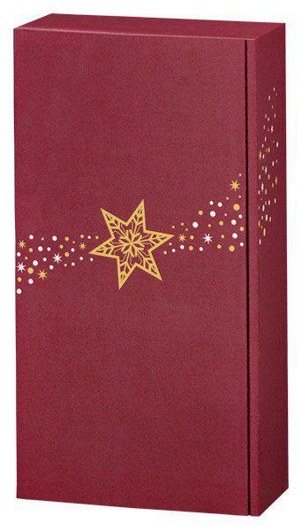 2er Geschenkverpackung - bordeaux mit Sternen - Leinenoptik