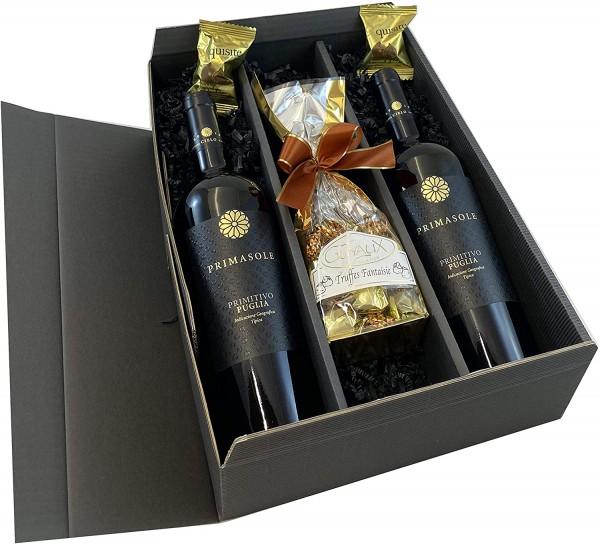 Geschenkset Rotwein: Primitivo Primasole mit Schokoladentrüffel und Feigen in Schokolade