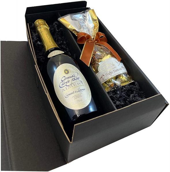 Geschenkset Cremant de Limoux mit feinsten französischen Trüffeln
