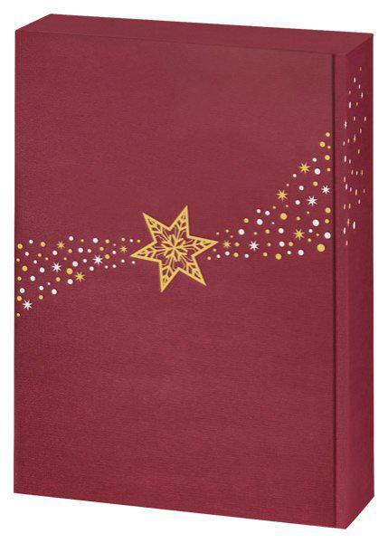 3er Geschenkverpackung - Weihnachtsstern rot, Leinenoptik