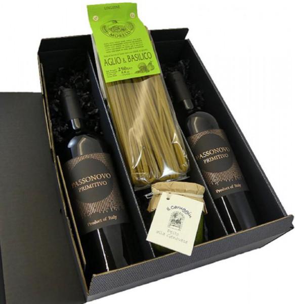 Geschenkset Primitivo mit Pasta und Pesto Genovese