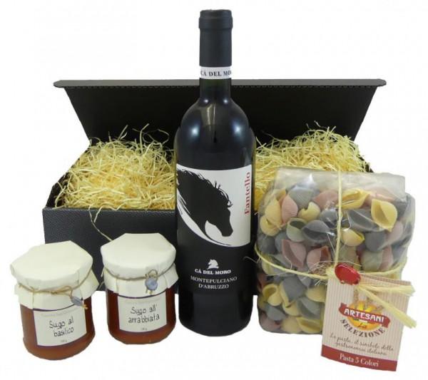 Geschenkset Montepulciano d´Abuzzo mit Pasta und zwei Sugo