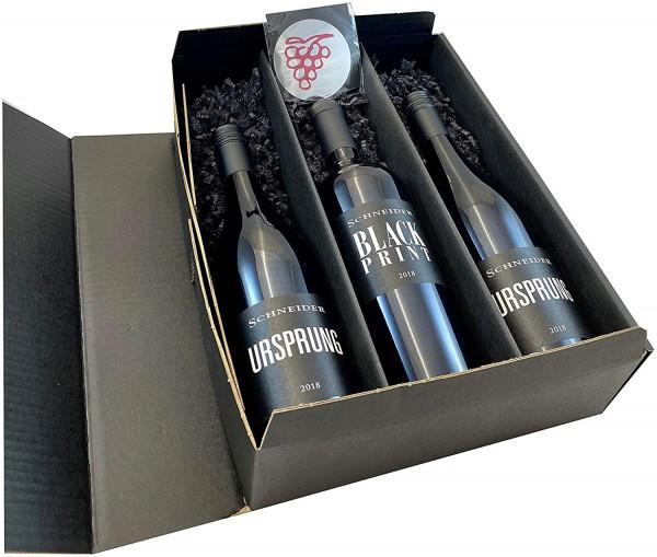 Geschenkset Rotwein von Markus Schneider | 2 Fl. Ursprung | 1 Fl. Black Print | Weingut Markus Schne