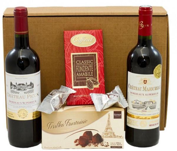 Geschenkset französische Genüsse mit Bordeaux, Trüffel und Schokolade