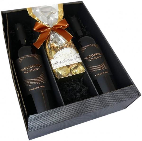 Geschenkset Rotwein aus Italien mit feinsten Schokoladentrüffel