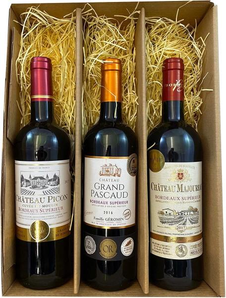 3er Geschenkset Bordeaux | 3 hochwertige französische Rotweine aus Bordeaux mit Goldmedaillen-Prämie