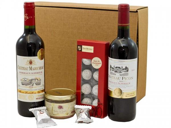 Geschenkset französische Genüsse mit Bordeaux, Trüffeln und Pastete