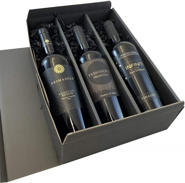 3er Geschenkset Primitivo | hochwertige italienische Rotweine aus Apulien | 3 x 0,75l